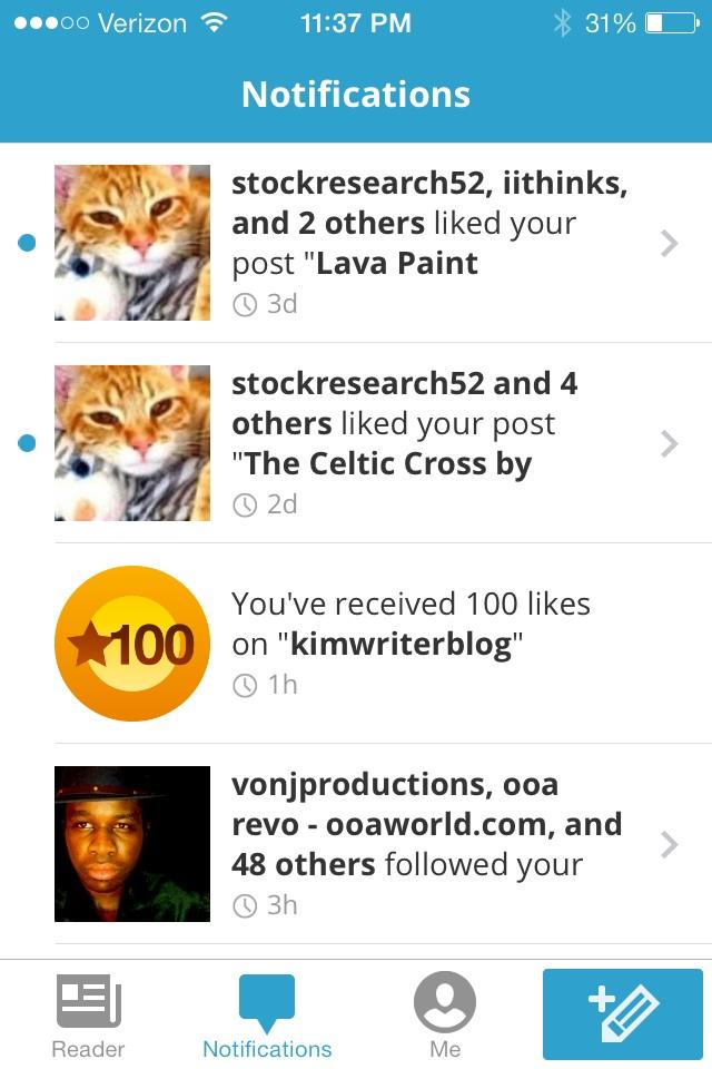 100 Kimwriterblog Word Press Likes